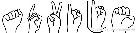 Advije im Fingeralphabet der Deutschen Gebärdensprache