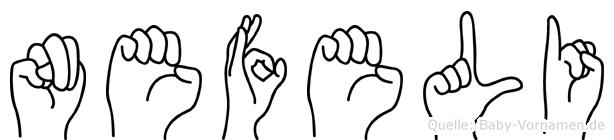 Nefeli im Fingeralphabet der Deutschen Gebärdensprache