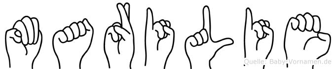 Marilie im Fingeralphabet der Deutschen Gebärdensprache
