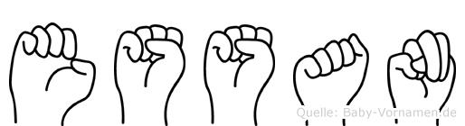 Essan im Fingeralphabet der Deutschen Gebärdensprache