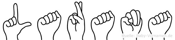 Larana im Fingeralphabet der Deutschen Gebärdensprache