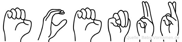 Ecenur im Fingeralphabet der Deutschen Gebärdensprache