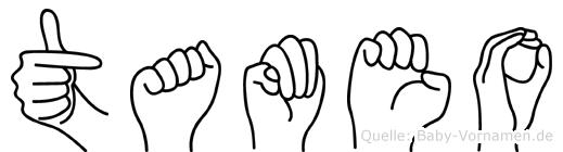 Tameo im Fingeralphabet der Deutschen Gebärdensprache