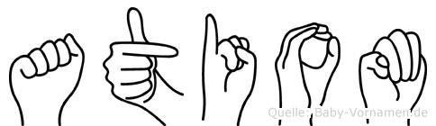 Atiom im Fingeralphabet der Deutschen Gebärdensprache