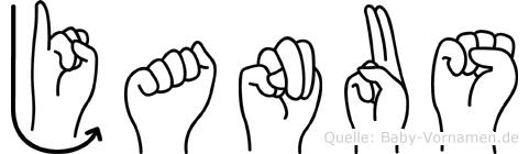 Janus im Fingeralphabet der Deutschen Gebärdensprache