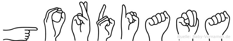 Gordiana im Fingeralphabet der Deutschen Gebärdensprache