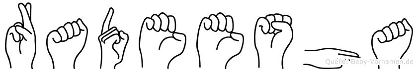 Radeesha im Fingeralphabet der Deutschen Gebärdensprache