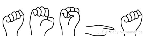 Aesha im Fingeralphabet der Deutschen Gebärdensprache