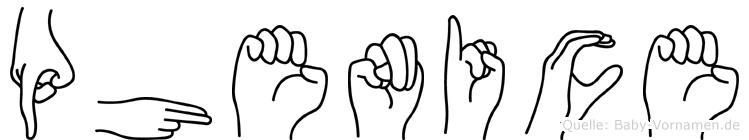 Phenice in Fingersprache für Gehörlose