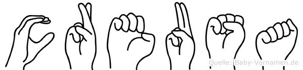 Creusa im Fingeralphabet der Deutschen Gebärdensprache