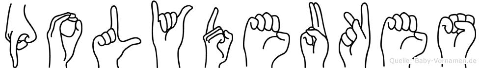 Polydeukes im Fingeralphabet der Deutschen Gebärdensprache