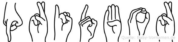 Pridbor im Fingeralphabet der Deutschen Gebärdensprache