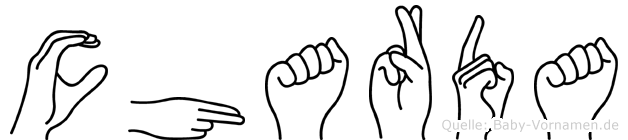 Charda im Fingeralphabet der Deutschen Gebärdensprache