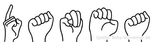 Danea im Fingeralphabet der Deutschen Gebärdensprache
