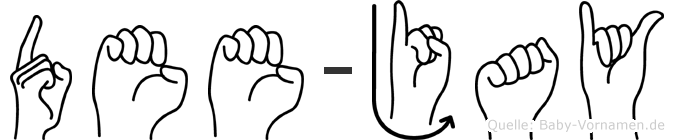 Dee-Jay im Fingeralphabet der Deutschen Gebärdensprache