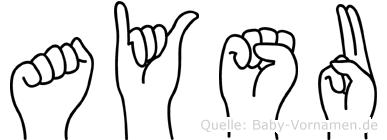 Aysu im Fingeralphabet der Deutschen Gebärdensprache