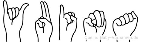 Yuina im Fingeralphabet der Deutschen Gebärdensprache