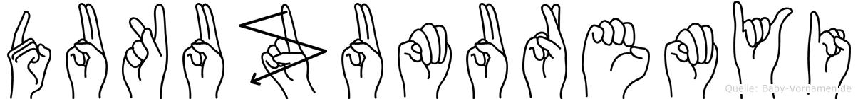 Dukuzumuremyi im Fingeralphabet der Deutschen Gebärdensprache