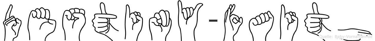 Destiny-Faith im Fingeralphabet der Deutschen Gebärdensprache