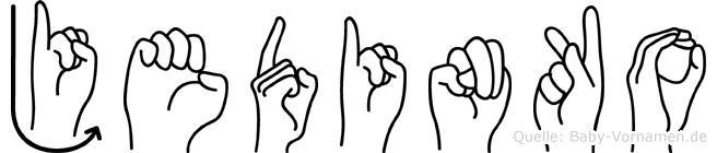 Jedinko im Fingeralphabet der Deutschen Gebärdensprache