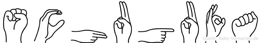 Schugufa im Fingeralphabet der Deutschen Gebärdensprache