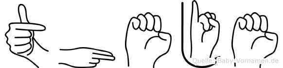 Theje im Fingeralphabet der Deutschen Gebärdensprache