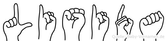 Lisida im Fingeralphabet der Deutschen Gebärdensprache