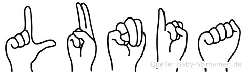 Lunia im Fingeralphabet der Deutschen Gebärdensprache