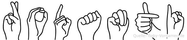 Rodanti im Fingeralphabet der Deutschen Gebärdensprache
