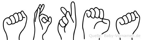 Afkea im Fingeralphabet der Deutschen Gebärdensprache