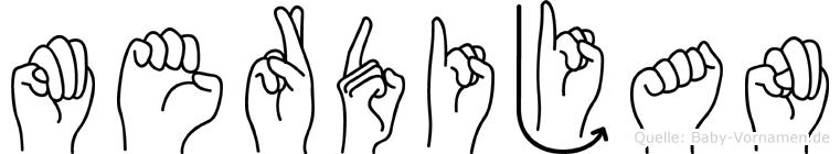 Merdijan im Fingeralphabet der Deutschen Gebärdensprache
