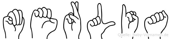 Merlia im Fingeralphabet der Deutschen Gebärdensprache