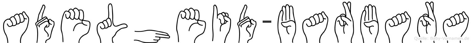 Adelheid-Barbara im Fingeralphabet der Deutschen Gebärdensprache