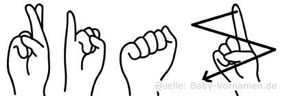 Riaz im Fingeralphabet der Deutschen Gebärdensprache
