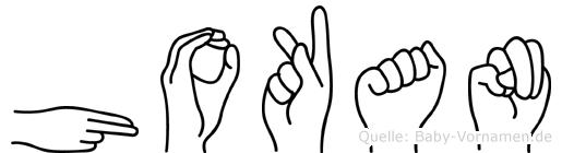 Hokan im Fingeralphabet der Deutschen Gebärdensprache
