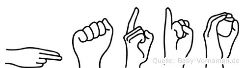 Hadio im Fingeralphabet der Deutschen Gebärdensprache
