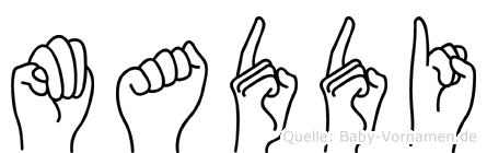 Maddi im Fingeralphabet der Deutschen Gebärdensprache