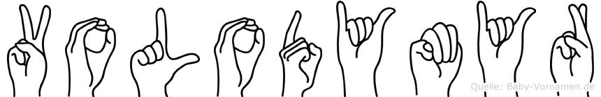 Volodymyr im Fingeralphabet der Deutschen Gebärdensprache