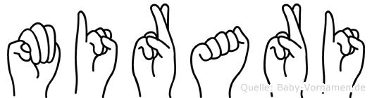 Mirari im Fingeralphabet der Deutschen Gebärdensprache