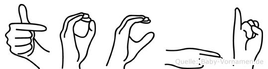 Tochi im Fingeralphabet der Deutschen Gebärdensprache