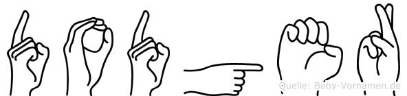 Dodger im Fingeralphabet der Deutschen Gebärdensprache