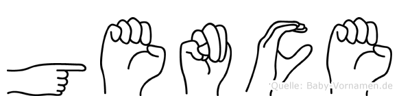 Gence im Fingeralphabet der Deutschen Gebärdensprache