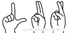 Lur im Fingeralphabet der Deutschen Gebärdensprache
