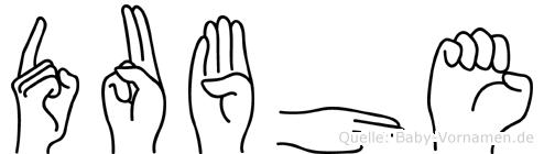 Dubhe im Fingeralphabet der Deutschen Gebärdensprache