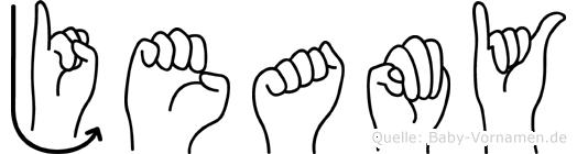 Jeamy im Fingeralphabet der Deutschen Gebärdensprache