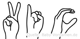 Vic im Fingeralphabet der Deutschen Gebärdensprache