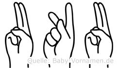 Uku im Fingeralphabet der Deutschen Gebärdensprache