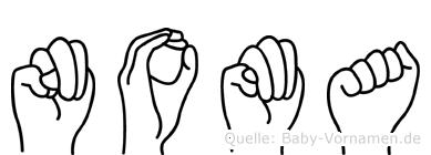 Noma im Fingeralphabet der Deutschen Gebärdensprache