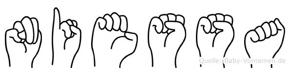 Niessa im Fingeralphabet der Deutschen Gebärdensprache