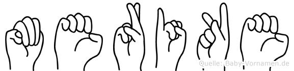 Merike im Fingeralphabet der Deutschen Gebärdensprache